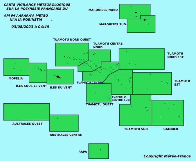 Carte de vigilande météorologique pour la Polynésie Française